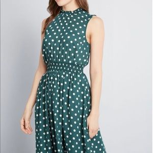 ModCloth polka dot green dress (Save the Occasion)